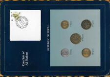 Coin Sets of All Nations Nepal Blue 1,2,5,10 Rupees, 50 Paisa 2002 10OC95 SCARCE