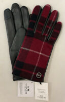 Genuine COACH Tech Gloves for Women Leather / Signature Plaid Black/Red MSRP$148