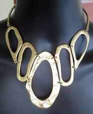 GOLD Tone CHAIN BIB NECKLACE Flat Open ABSTRACT CIRCLES - SEEN ON CRIMINAL MINDS