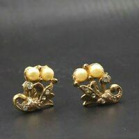 Vintage Gold Toned Rhinestone Pearl Flower Floral Screwback Earrings a11