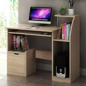 Computer Desk Writing Study Table Office With Drawers Home Study Book Shelf