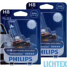 H8 philips whitevision-xénon-effet phares Lampe Duo-pack-Box NEUF