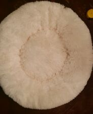 "23"" Fluffy Plush Round Dog Calming Bed Cushion Warm Cat Sleeping Mat White M"
