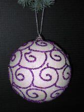 2er Set Bolas de Navidad Decoración para Árbol 11,5 cm en Blanco/Violeta