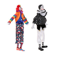 2pcs Harlequin Pierrot Jester Clown Porcelain Doll in Clothes 15inch Tall