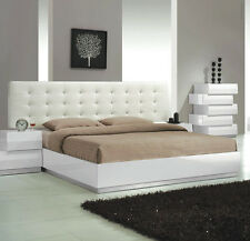 1pc Queen Size Bedroom Furniture Modern Designed White Lacquer Finish Bed