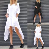 Women Asymmetric Long Sleeve Cotton Top Blouse Loose Tunic Shirt Dress Plus Size