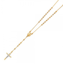 14K Yellow Gold Rosary Necklace Pendant Chain -Ball Beads Jesus Cross Mary Charm
