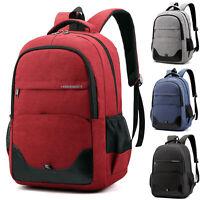 Plain Men Unisex Backpack Laptop Rucksack School Travel Bag Bottle Pocket Large