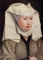 Excellent Oil painting Rogier van der Weyden - Portrait of a Woman & white scarf