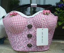 Sexy Karo Dirndl Trachten Korsage Tasche Handtasche rosa 30122 Trachtentasche