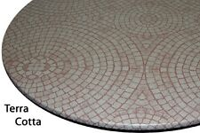 "Table Cloth Bistro 24"" to 33"" Elastic Edge Vinyl Table Cover Mosaic Terra Cotta"