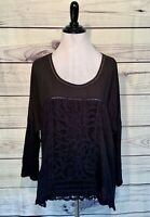 Anthropologie Meadow Rue Black 3/4 Sleeve Lace Mixed Media Large Shirt Top