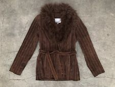 Vtg 90s Suede Pin Stripe Fuzzy Coat Hippie Penny Lane Almost Famous 70s Boho XS