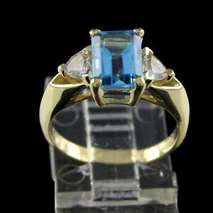 Estate 2.5Ct Emerald Blue & White Topaz 14K Yellow Gold Ring