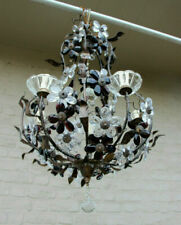Vintage French metal Glass daisy flower Chandelier lamp attr MAISON BAGUES 1970