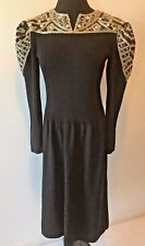 Vintage Pat Sandler Saks Fifth Ave Black Beaded Sweater Dress size 12 M L DS13