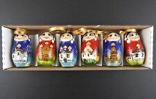 Christmas Tree Decoration Hand Painted Set Russian Wooden Dolls Toys Ornaments 6