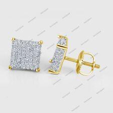 Women's Men's 0.86 CT Diamond Cube Big Block Gold Plated Screw Back Earrings