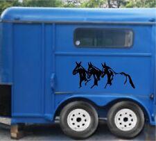 "Running Mules Vinyl Decal Stickers Horse Trailer Truck 11.5x40"" Set of 2"