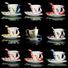 Porcelain Coffee Cup saucer Spoon Bone China Peacock Tea Set Party Birthday Gift
