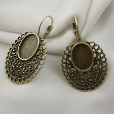 36717 Antiqued Bronze Tone Alloy Oval Cameo Setting 14*10mm Earring Hook 14pcs
