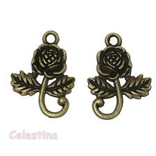 20 Rose Charms - Antique Bronze Roses - Small Flower Links