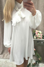 """""""Esther"""" Balloon Sleeves White Tie Neck Pussy Bow Shirt Dress Size 10"""