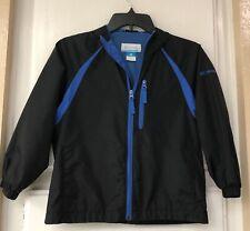 Columbia Sportswear Boys Size 8 Jacket Windbreaker Hood Black Blue Lightweight