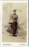 Salzpapier. Junge Dame mit Fahrrad und Hut, Original-Cdv-Photo um 1881.