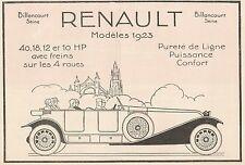 Y7273 RENAULT Modèles 1923 - Pubblicità d'epoca - 1923 Old advertising