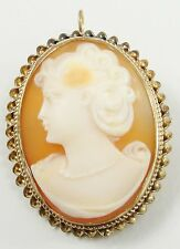 Vintage Gold Filled Carnelian Shell Cameo Pendant Brooch Pin Facing Left