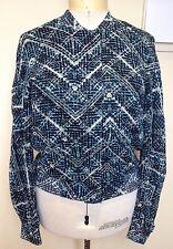 WITCHERY ~ Blue Black Geometric Print Long Sleeve Zipper Front Jacket ~ 10