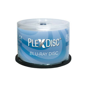 50 PlexDisc 6X 25GB Blank BD-R BDR Blu-Ray Logo Branded Media Disc 633-814
