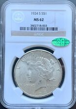 1924-S Peace Dollar NGC MS62 CAC*Looks Nicer*