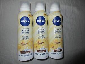 NIVEA FOAMING SILK MOUSSE BODY WASH VANILLA CARAMEL 6.8 OZ ~ LOT OF 3 CANS