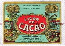 1930s BRASIL S Paulo Irmaos Botasso LICOR DE CACAO Liqueur Label
