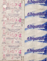 Aquatabs Potable Water Purification Tablet 167 mg treats 25 lt exp 8/23 Cheapest