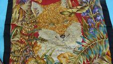 SALVATORE FERRAGAMO,silk scarf,depicting a wonderful fox !. + a Gucci gift bag.