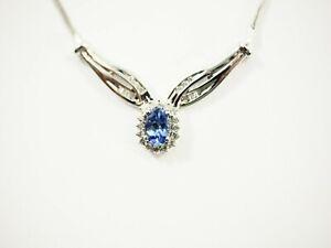 Fine Ladies Tanzanite Diamond Necklace 14k White Gold