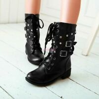 Womens Lace Up Rivet Punk Motorcycle Military Ankle Boots Shoes UK Size 3.5-8