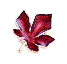 Tono Oro Rojo Esmalte Broche Hoja de Arce, Excelente Regalo De Navidad Navidad Gear
