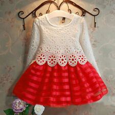 Baby Girl Kids Crochet Lace Party Dress Princess Long Sleeve Tutu Dress Age 3-8Y