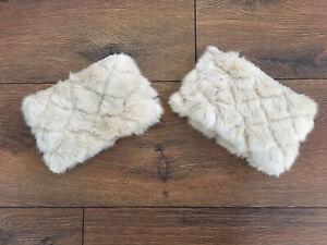 Faux Fur Boot Cuff/Trim knitted leg warmer Cresm One Size VCG 10cm Wide