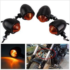4In1 Black Metal Shell 10W Amber Motorcycle ATV Bike Turn Signal Light Lamp 12V