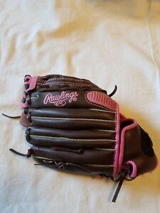"""Rawlings FP110PMC Leather Softball  Baseball Glove 11"""" LHT  Fast pitch pink EUC"""