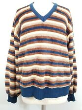 Rare Vtg 70's Size Xl Sundowner Erika Strasberg Sweater Stripe V Neck Textured