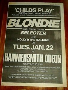 BLONDIE HAMMERSMITH ODEON 1980 FULL PAGE PRESS ADVERT POSTER SIZE  37/26CM