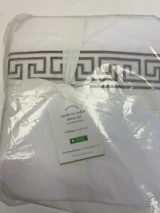 Pottery Barn Geo Embroidered Organic Percale Sheet Set Cal King Simply Taupe