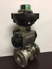 "2"" Flanged Pneumatic Ball ValveBall Valve w/Limit Switch & Indicator Beacon"